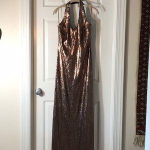Stunning bronze halter sequin gown JS Boutique